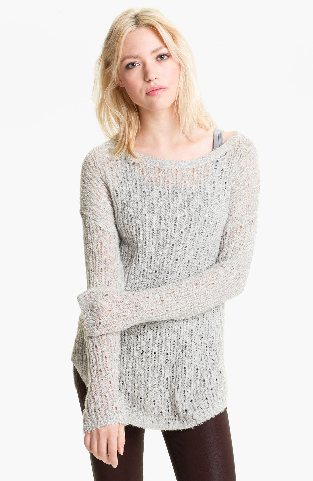 Alternate Image 1 Selected - Trouvé Shimmer Pointelle Sweater