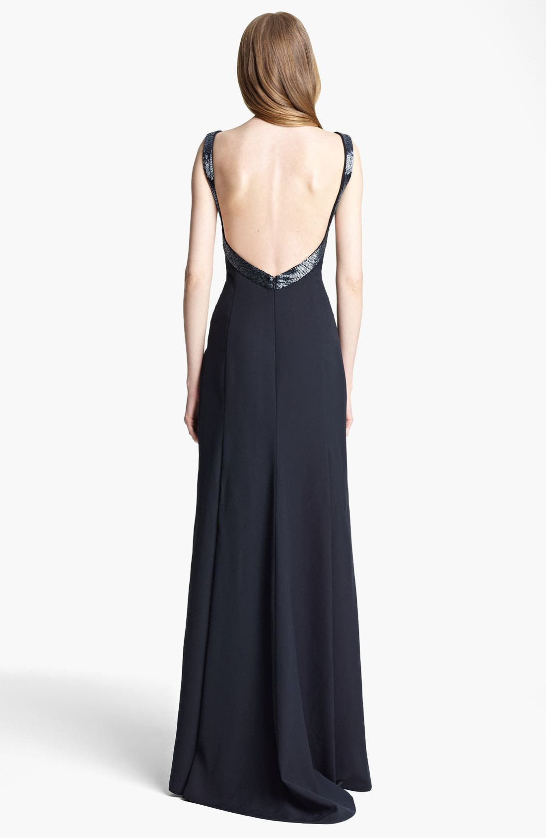 Alternate Image 2  - Armani Collezioni Beaded Strap Cady Gown