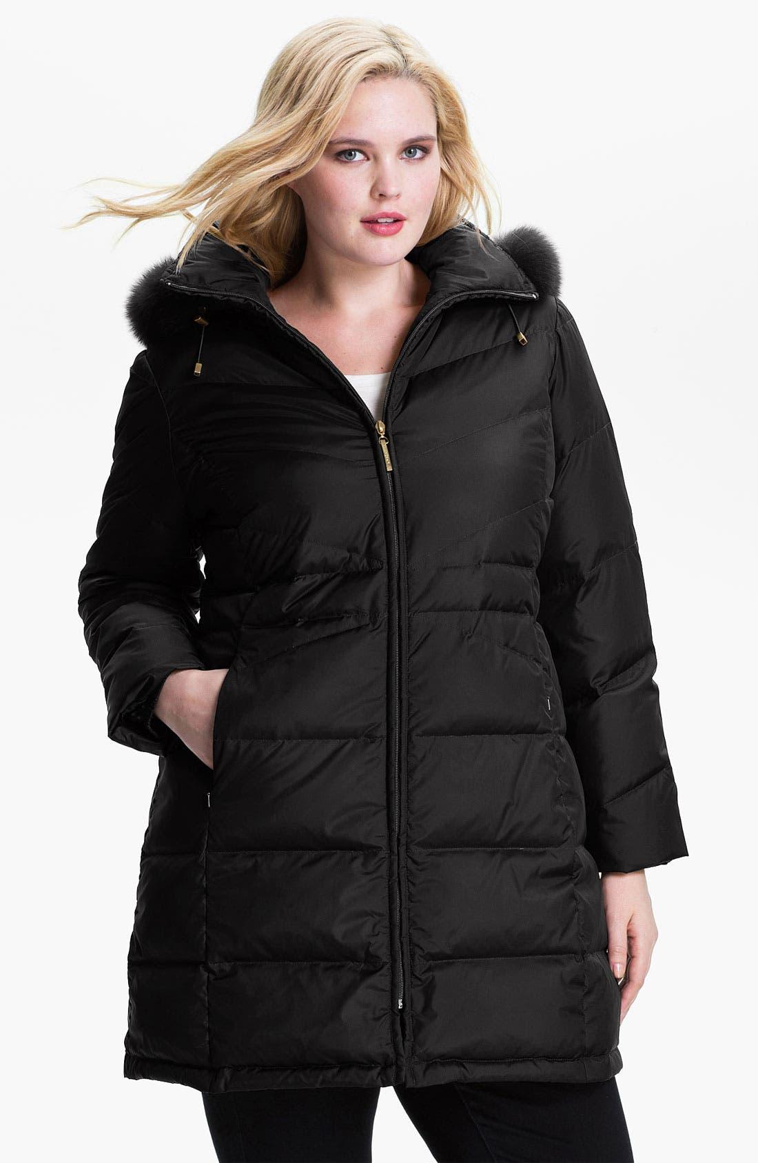 Main Image - Ellen Tracy Down Coat with Genuine Fox Fur (Plus)