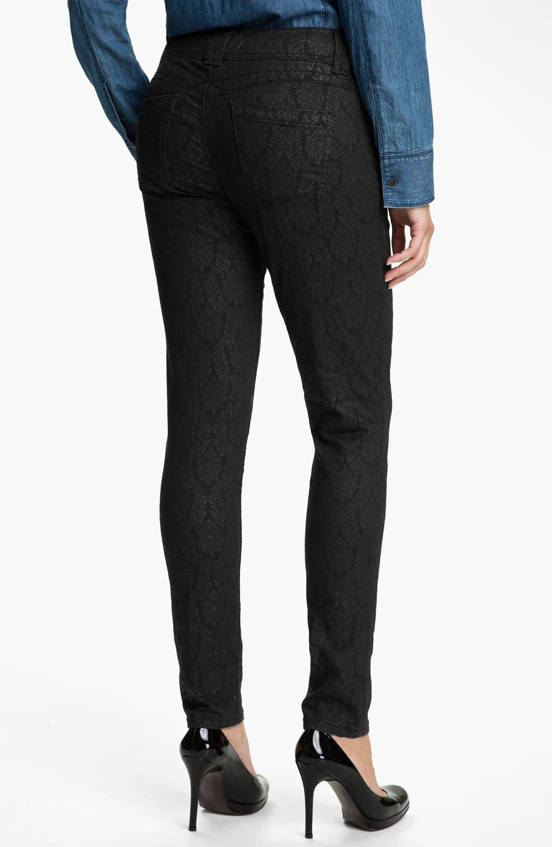 Alternate Image 2  - Wit & Wisdom Brocade Print Skinny Jeans (Black) (Nordstrom Exclusive)