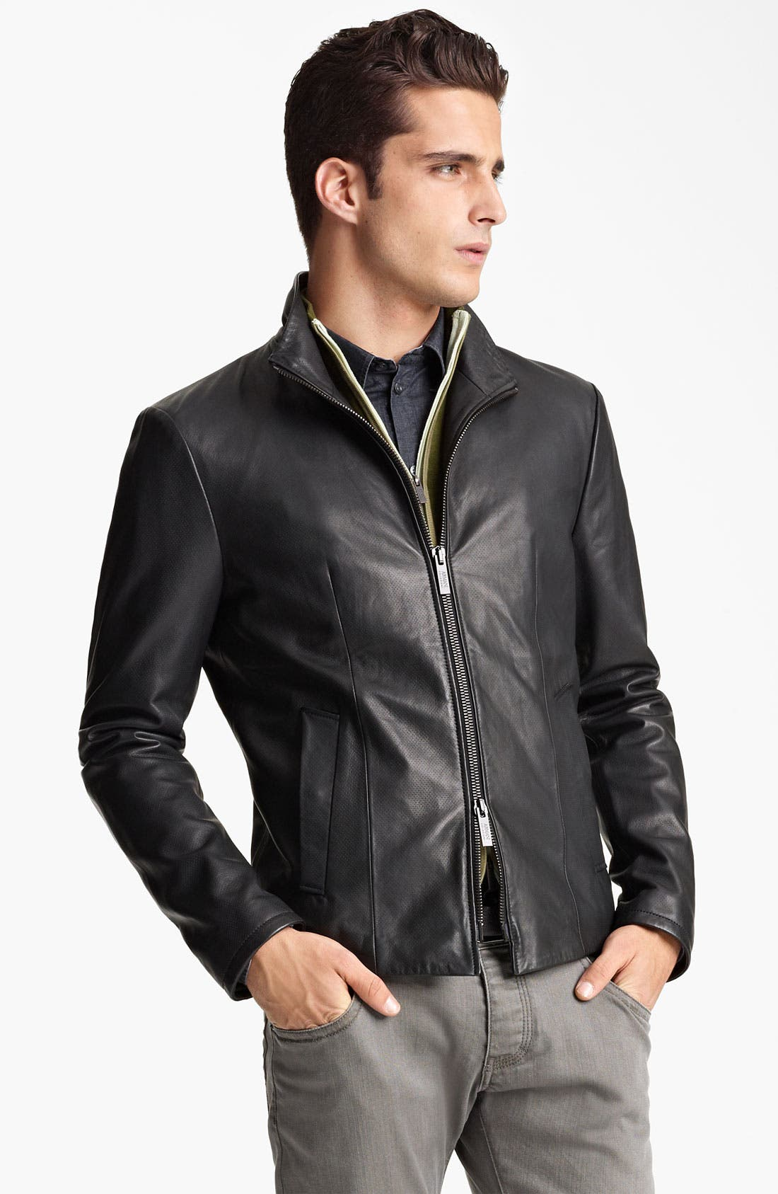 Alternate Image 1 Selected - Armani Collezioni Perforated Leather Jacket