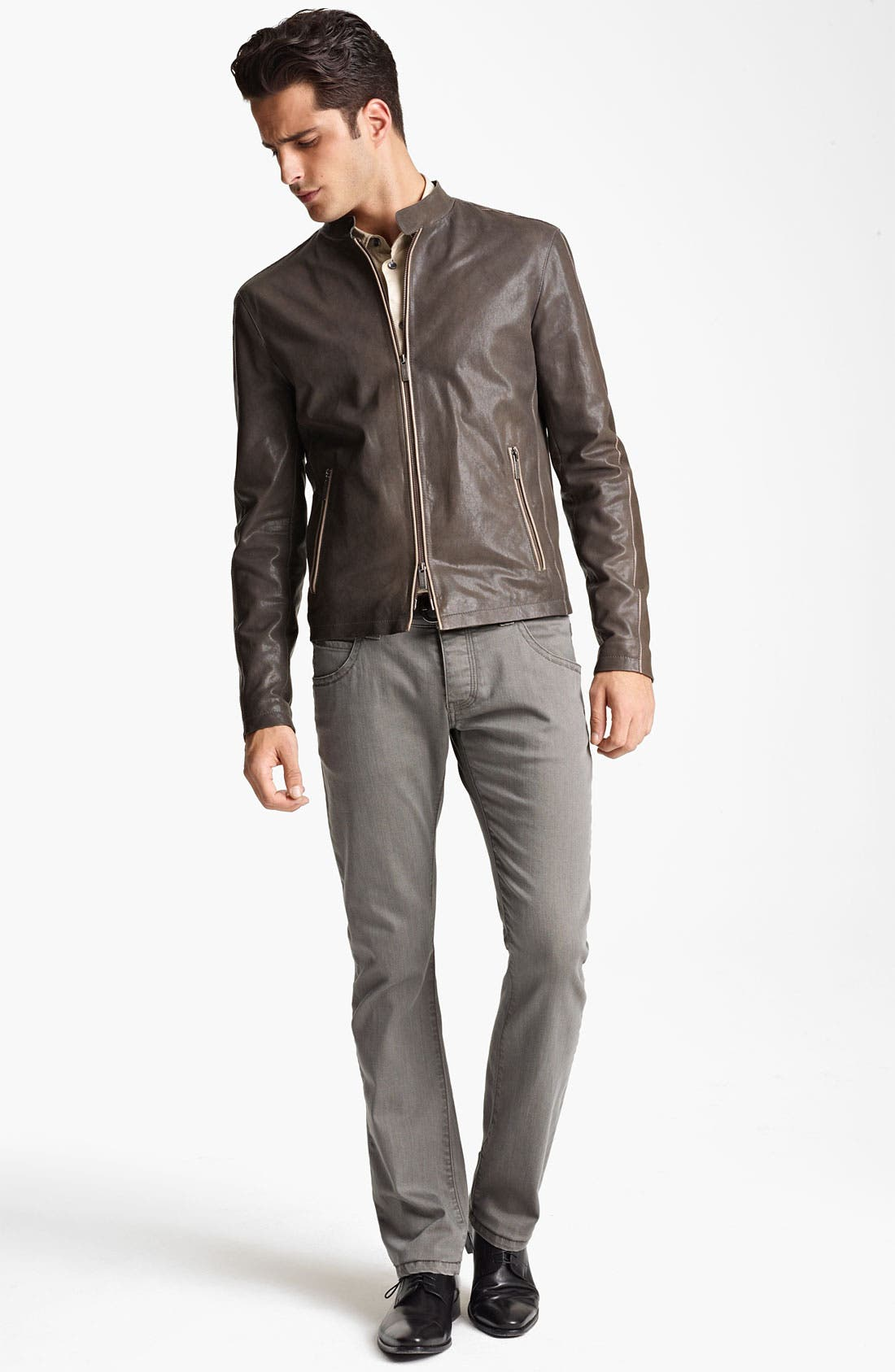Alternate Image 4  - Armani Collezioni Leather Jacket