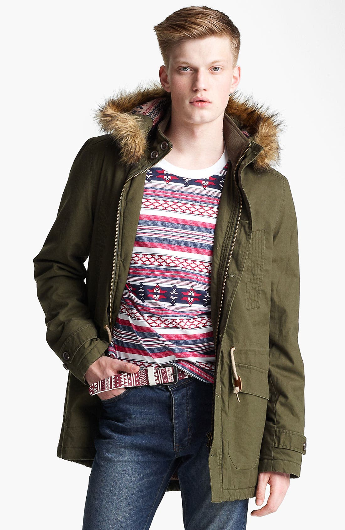 Main Image - Topman Hooded Parka with Faux Fur Trim