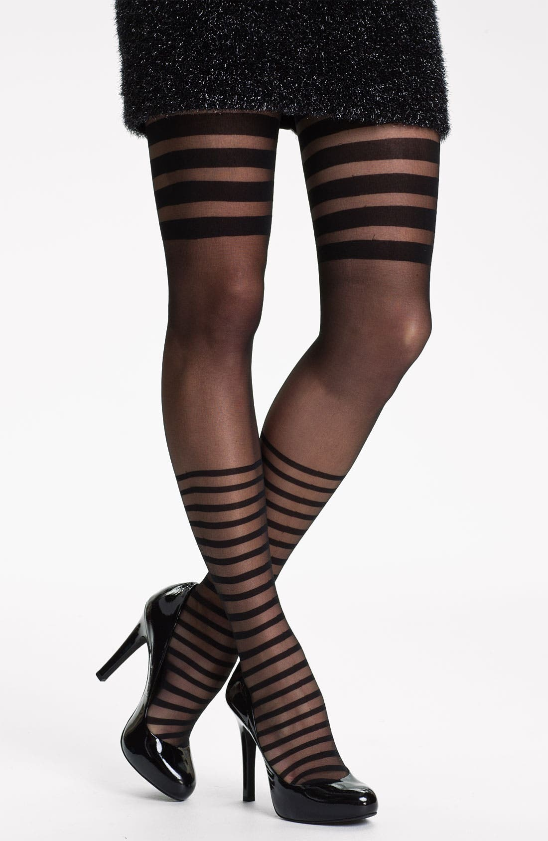 Placed Stripe Tights,                         Main,                         color, Black