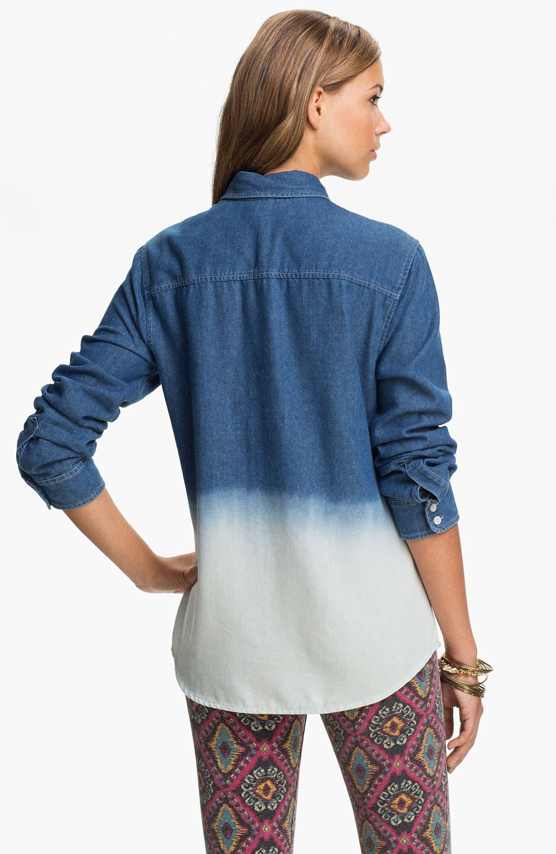 Alternate Image 2  - Pretty Rebel Dip Dye Chambray Shirt (Juniors)