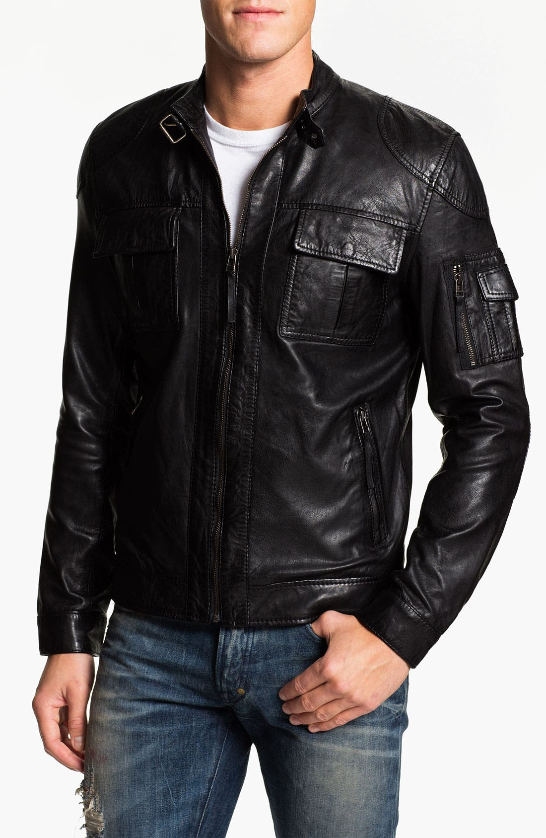 Alternate Image 1 Selected - 7 Diamond 'Konick' Leather Moto Jacket