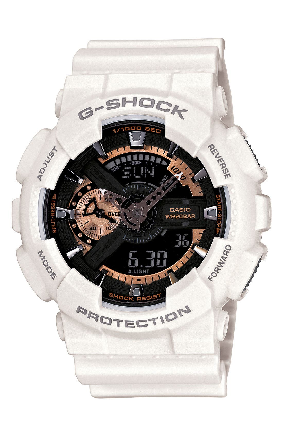 G-Shock 'X-Large' Rose Gold Dial Watch, 55mm,                             Main thumbnail 1, color,                             White/ Rose Gold