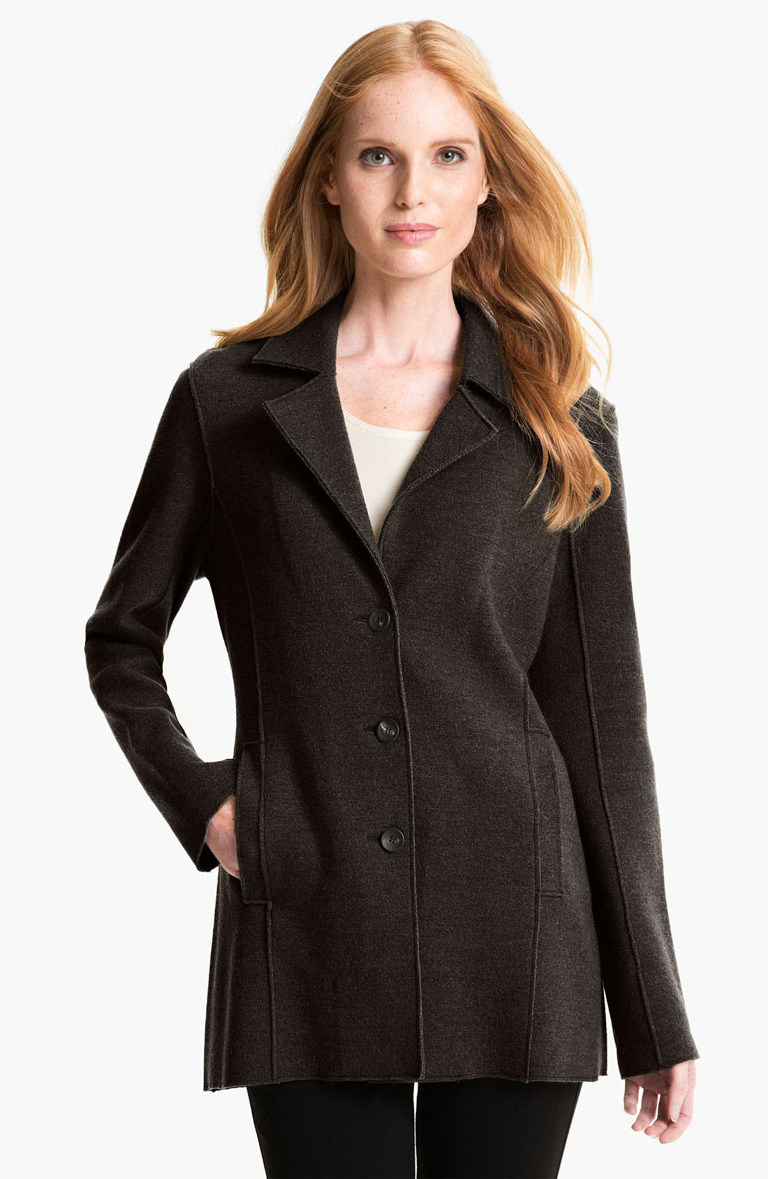 Alternate Image 1 Selected - Eileen Fisher Notch Collar Long Jacket