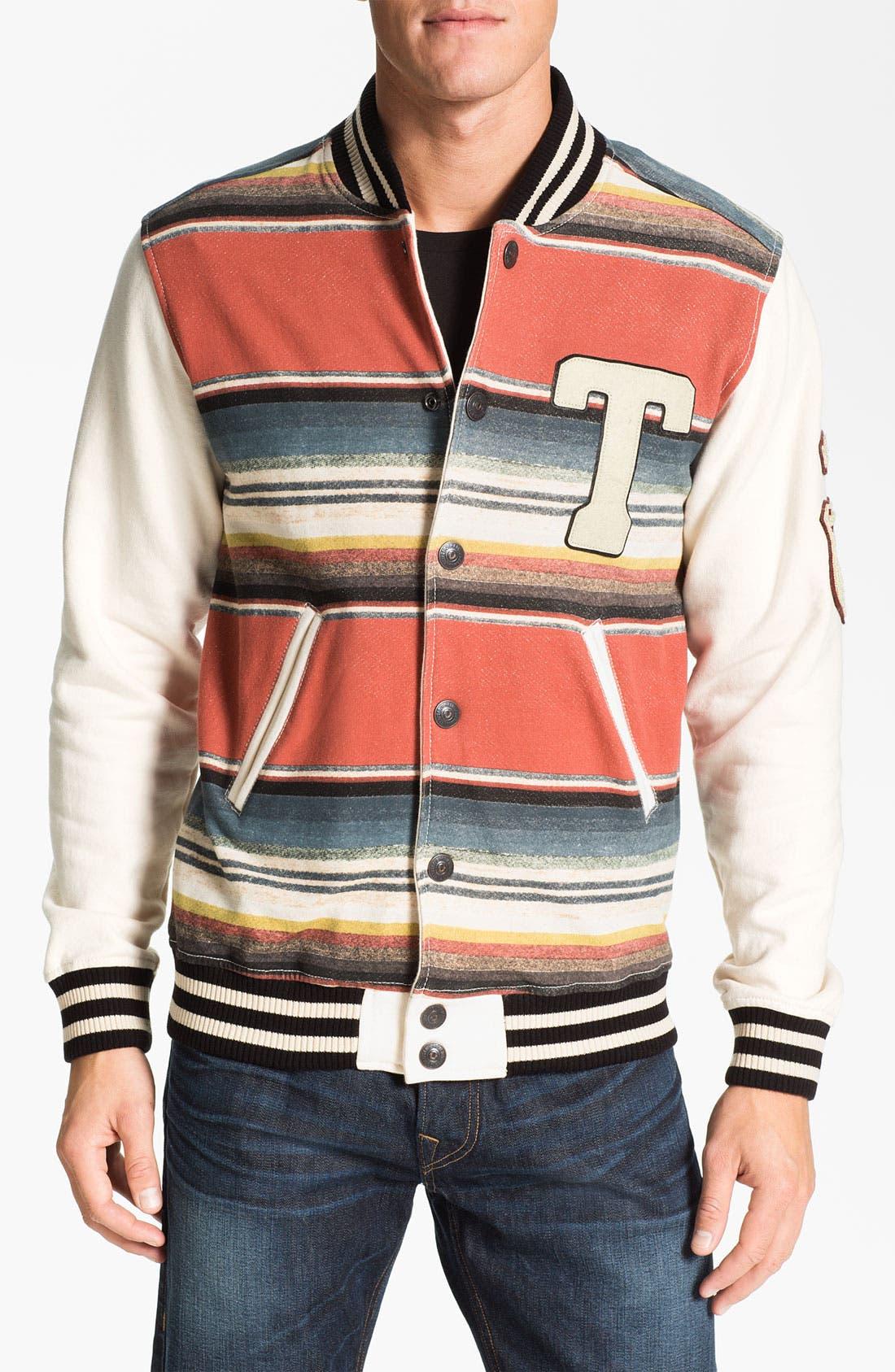 Alternate Image 1 Selected - True Religion Brand Jeans Stripe Print Varsity Jacket