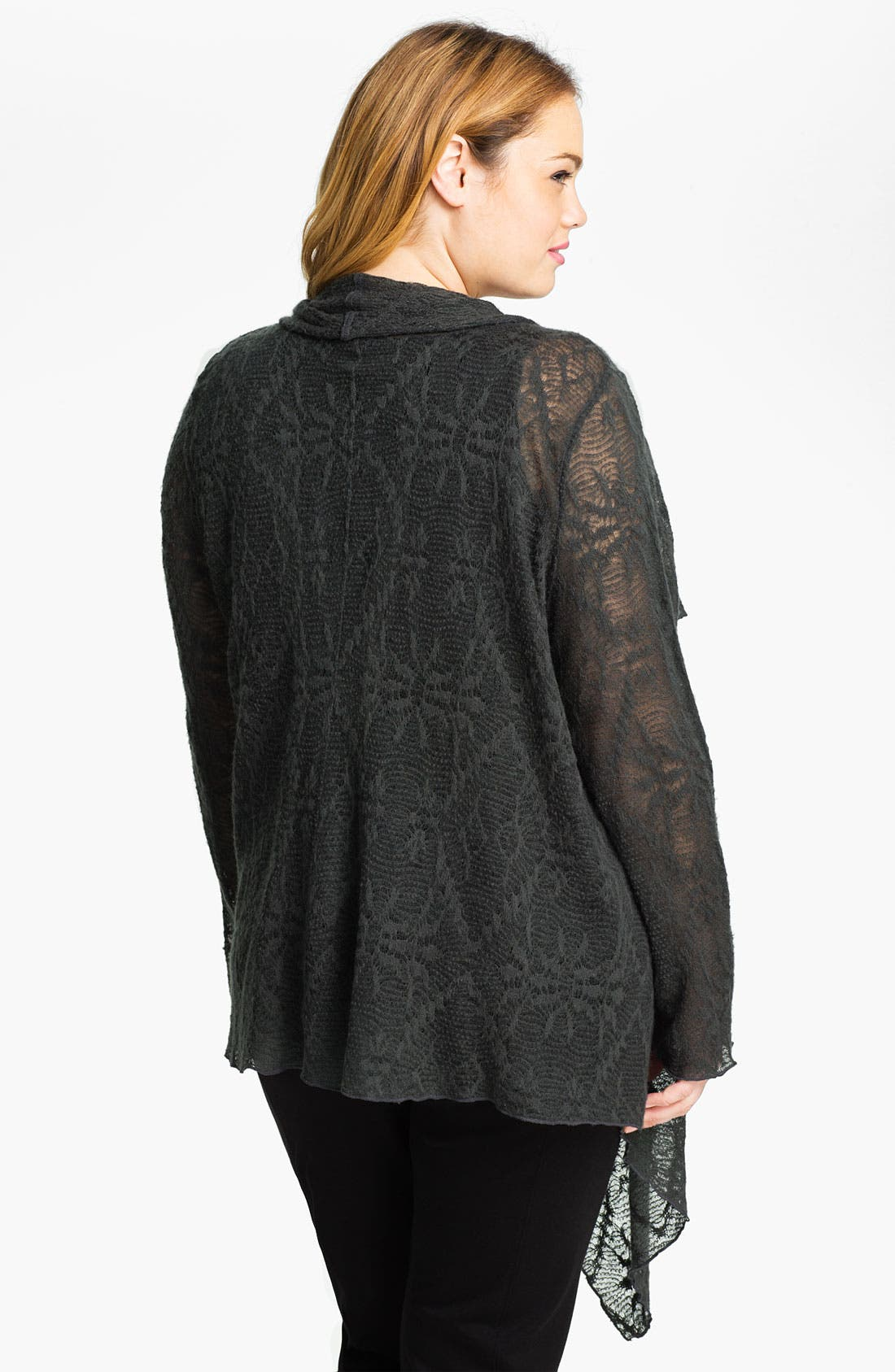Alternate Image 2  - Out of Ashes Short Crochet Waterfall Cardigan (Plus)