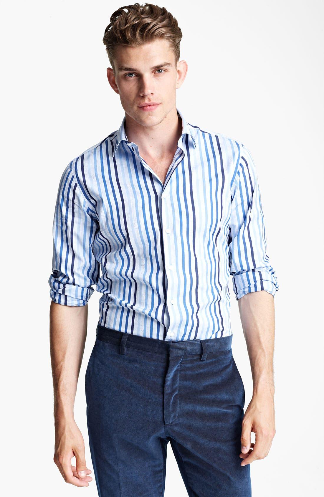 Alternate Image 1 Selected - Etro Stripe Jacquard Print Dress Shirt