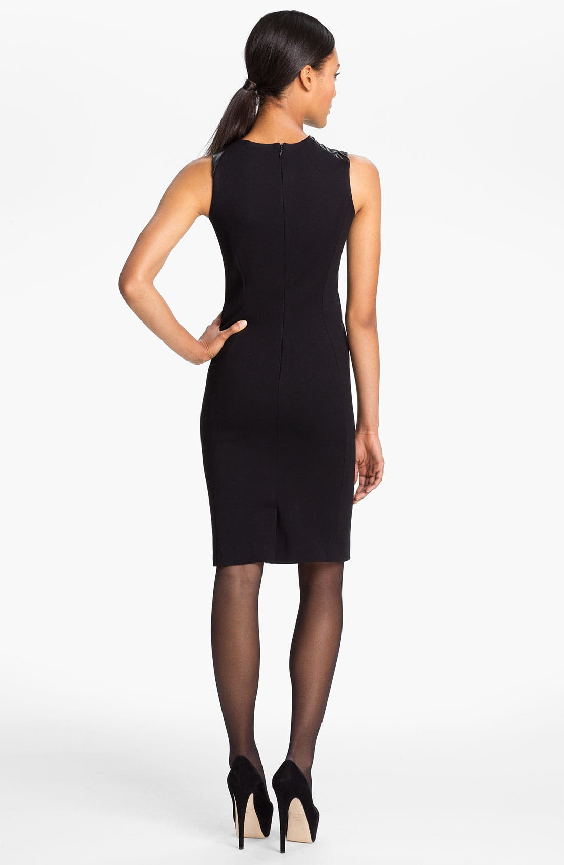 Alternate Image 2  - Halston Heritage Leather Trim Ponte Knit Dress