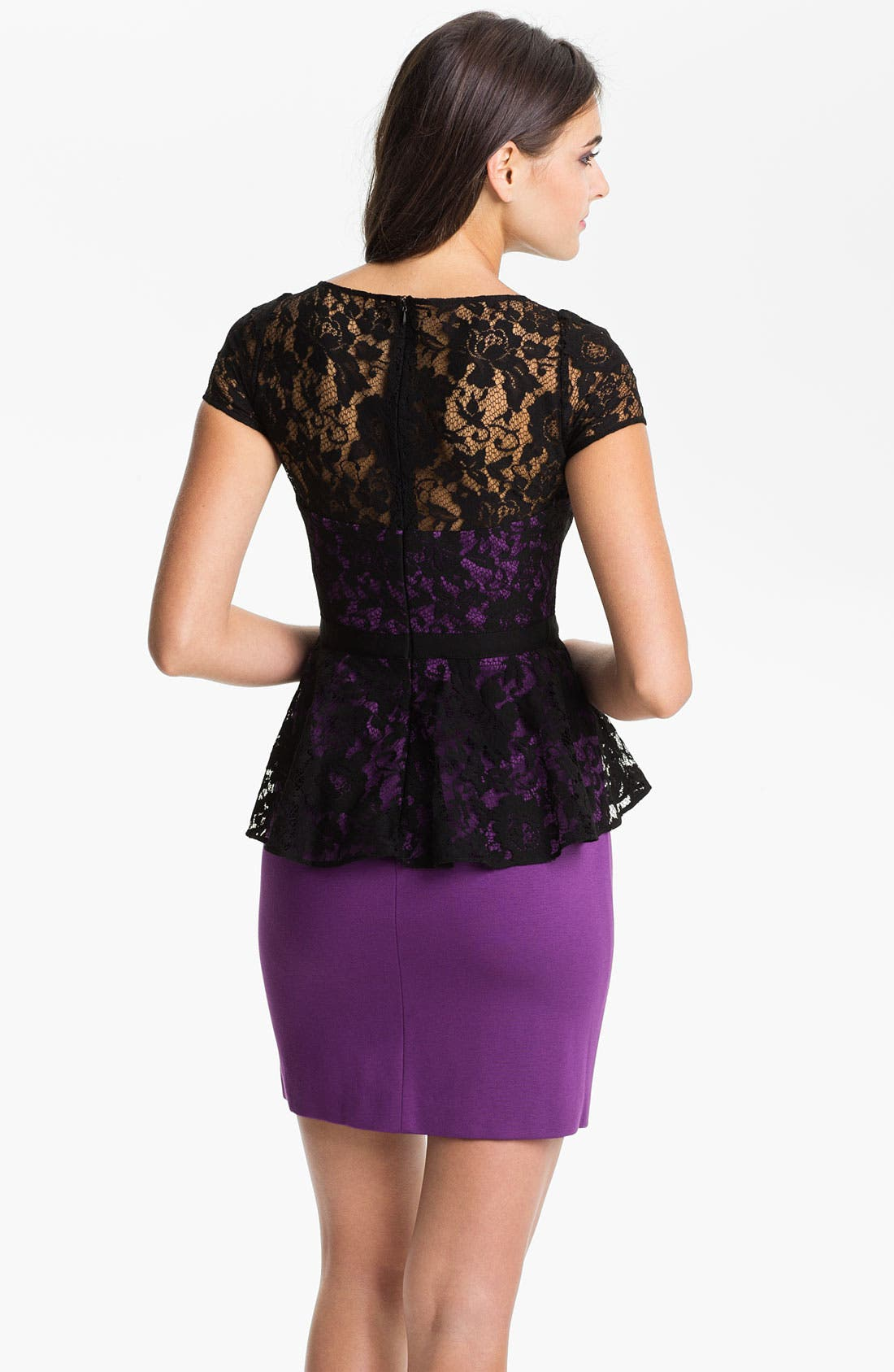 Alternate Image 2  - Donna Morgan Lace Overlay Peplum Dress