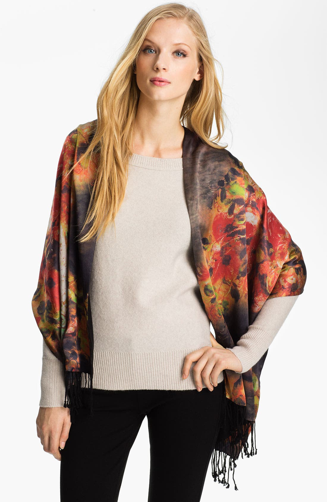Alternate Image 1 Selected - Roffe Accessories Floral Silk Wrap