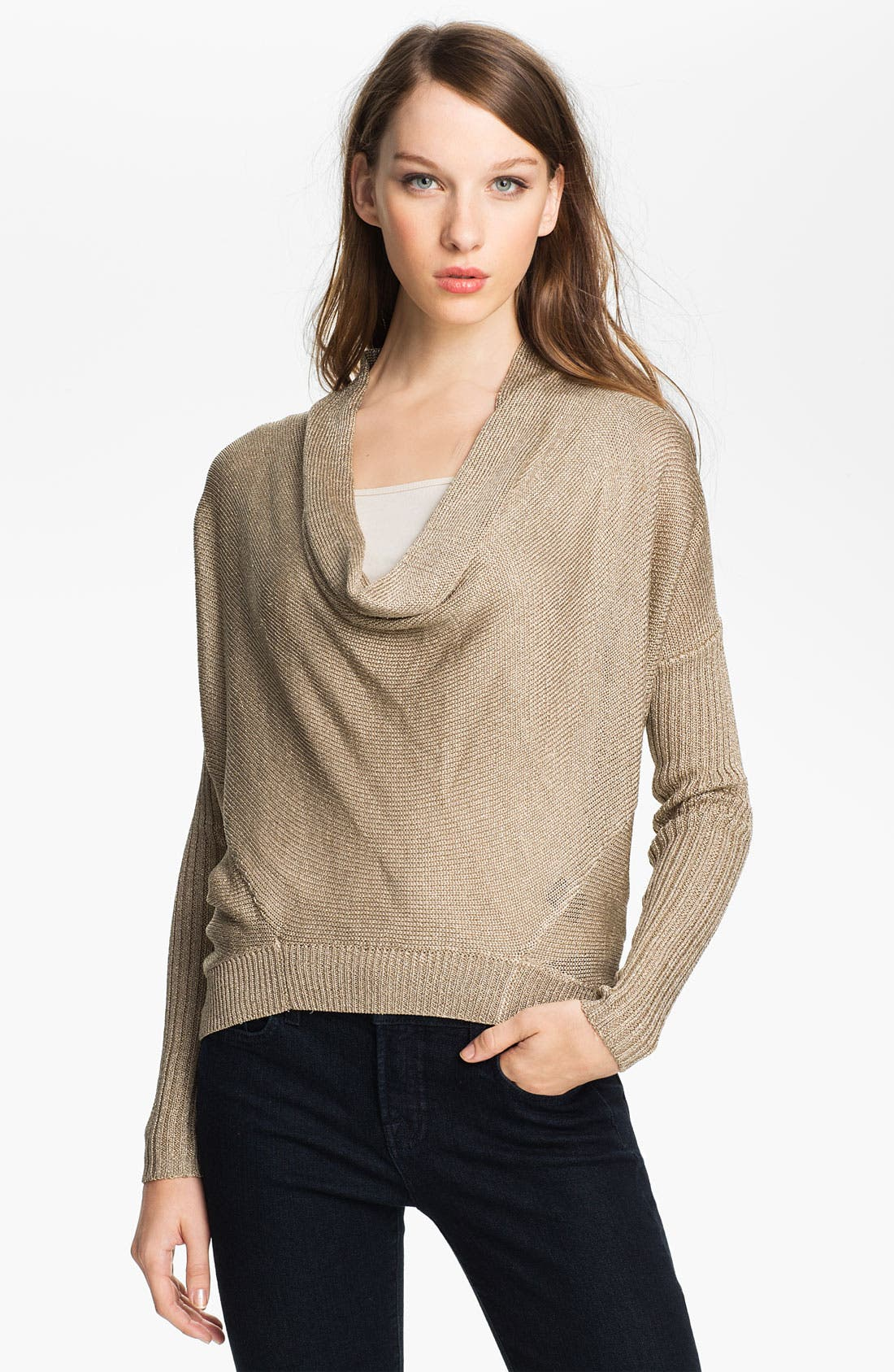 Alternate Image 1 Selected - Vince Camuto High Low Metallic Sweater