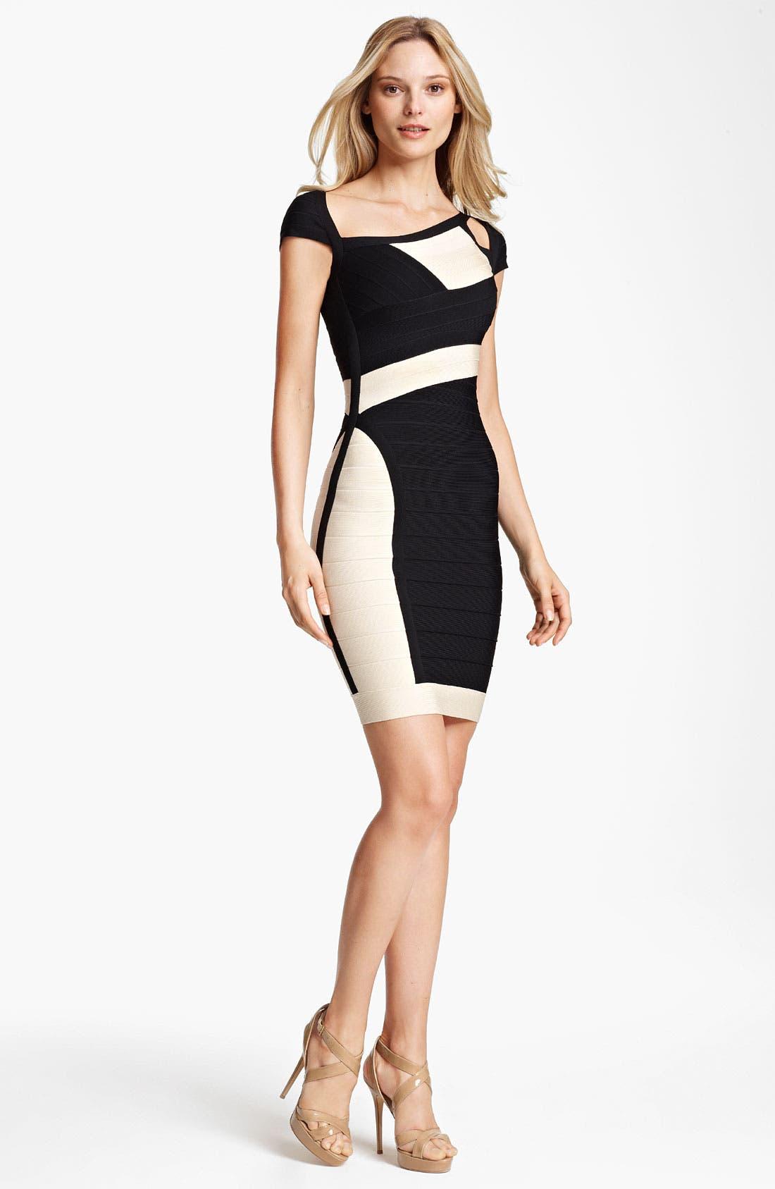 Alternate Image 1 Selected - Herve Leger Colorblock Cutout Bandage Dress