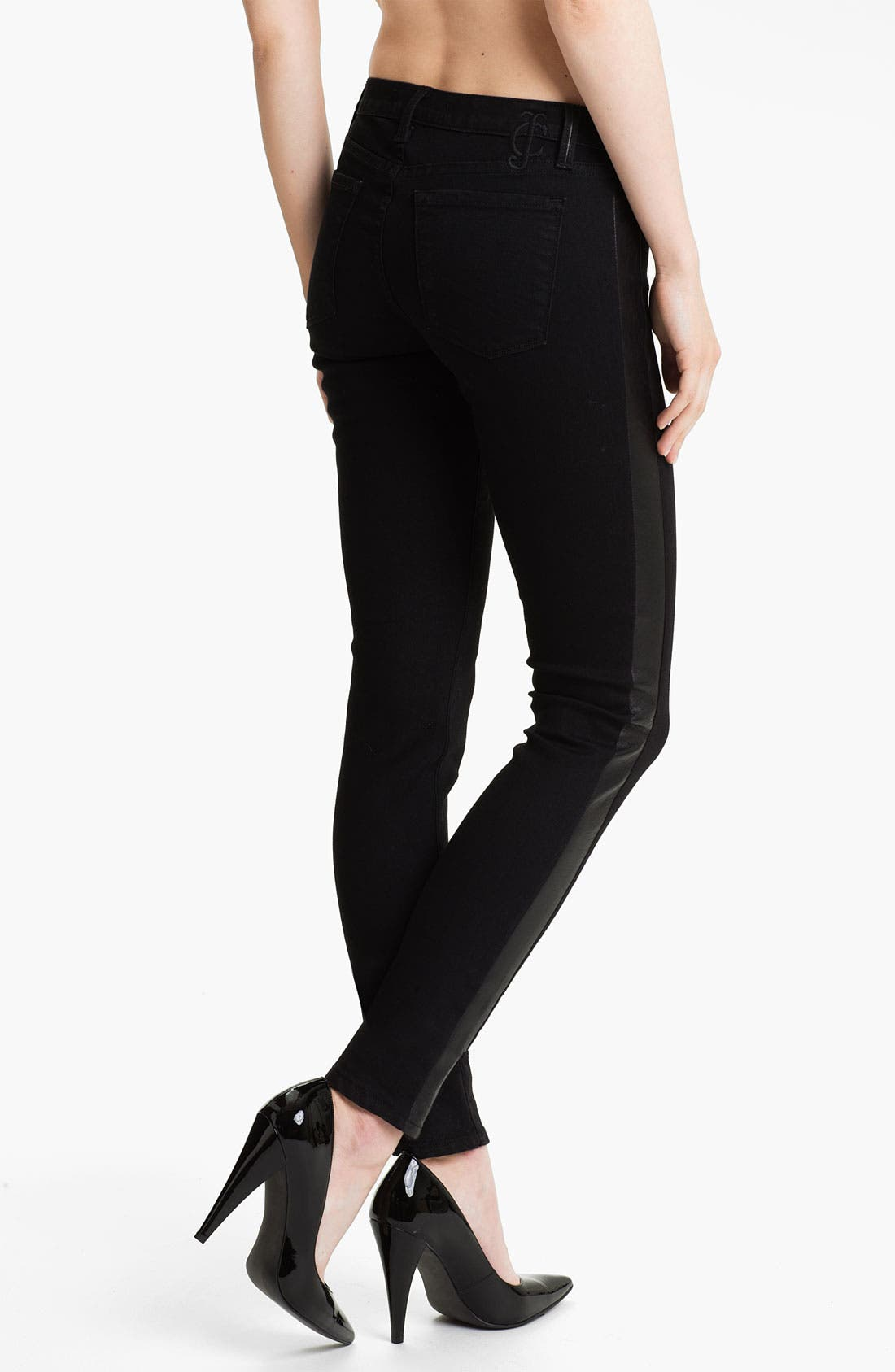Alternate Image 2  - Juicy Couture Leather Tux Stripe Skinny Jeans (Lilia)