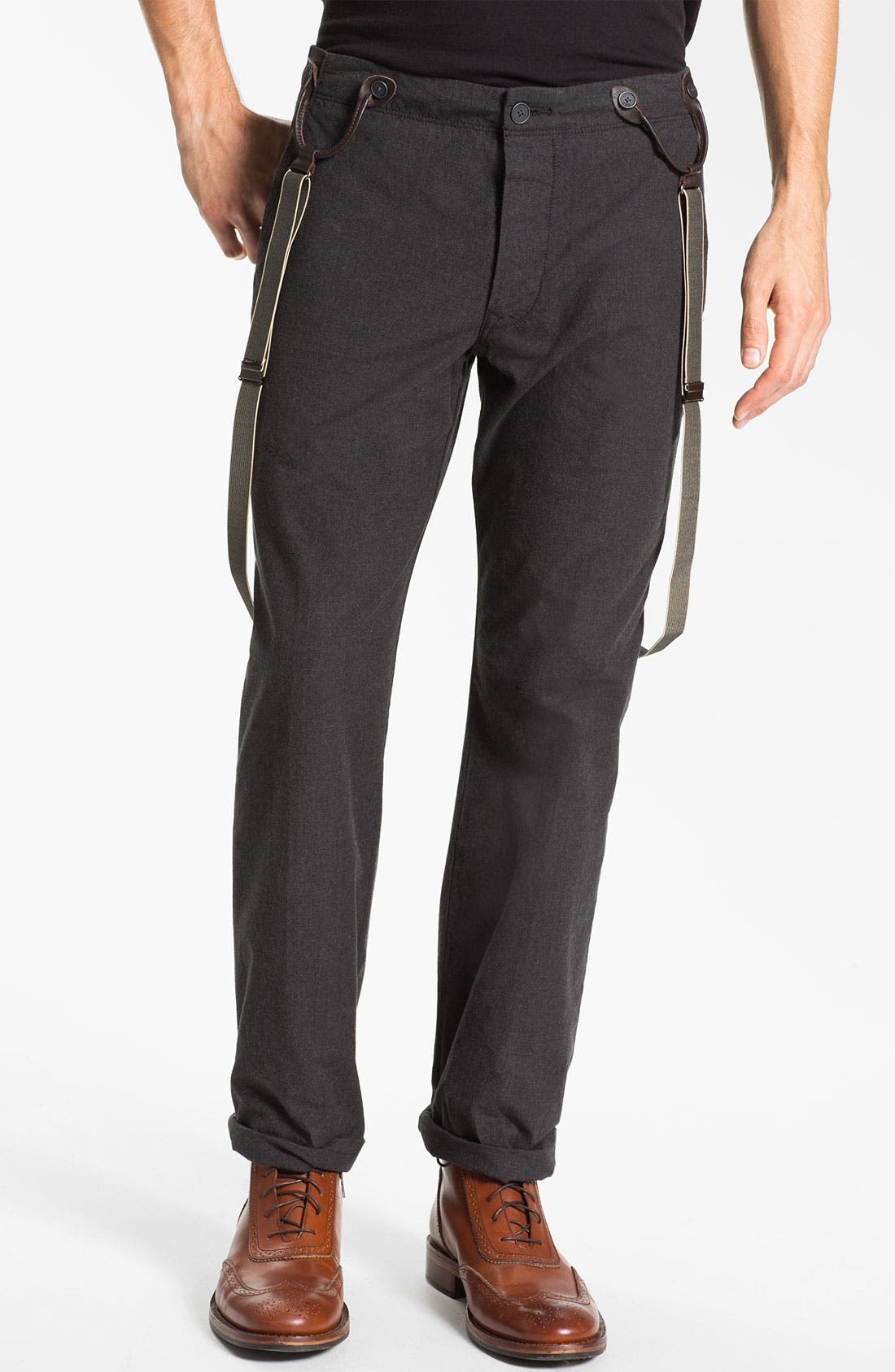 Main Image - John Varvatos Star USA Slim Leg Trousers with Suspenders