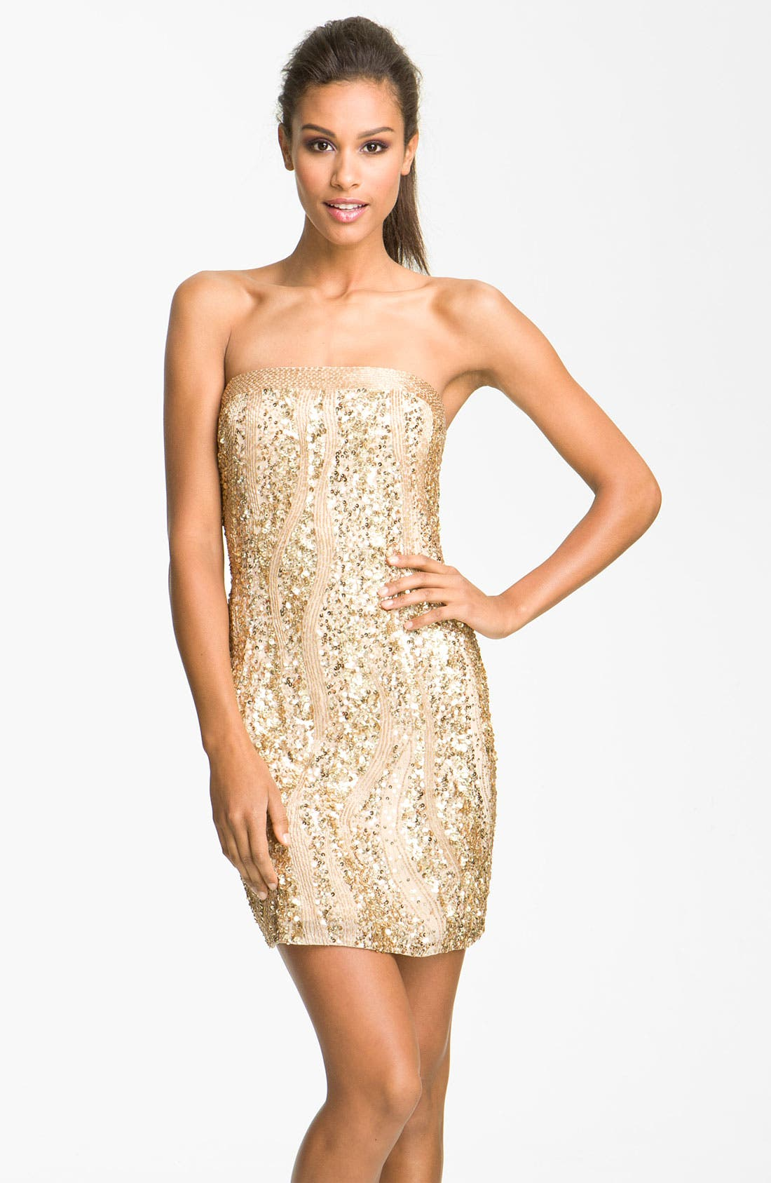 Alternate Image 1 Selected - Adrianna Papell Sequin Strapless Sheath Dress (Petite)