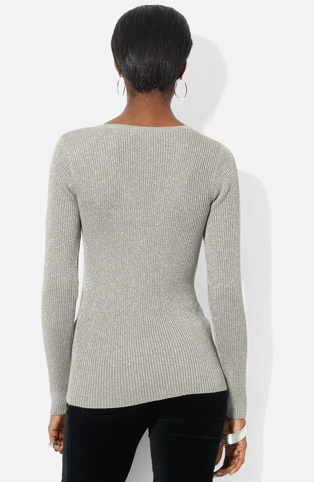 Alternate Image 2  - Lauren Ralph Lauren V-Neck Metallic Knit Sweater (Petite)