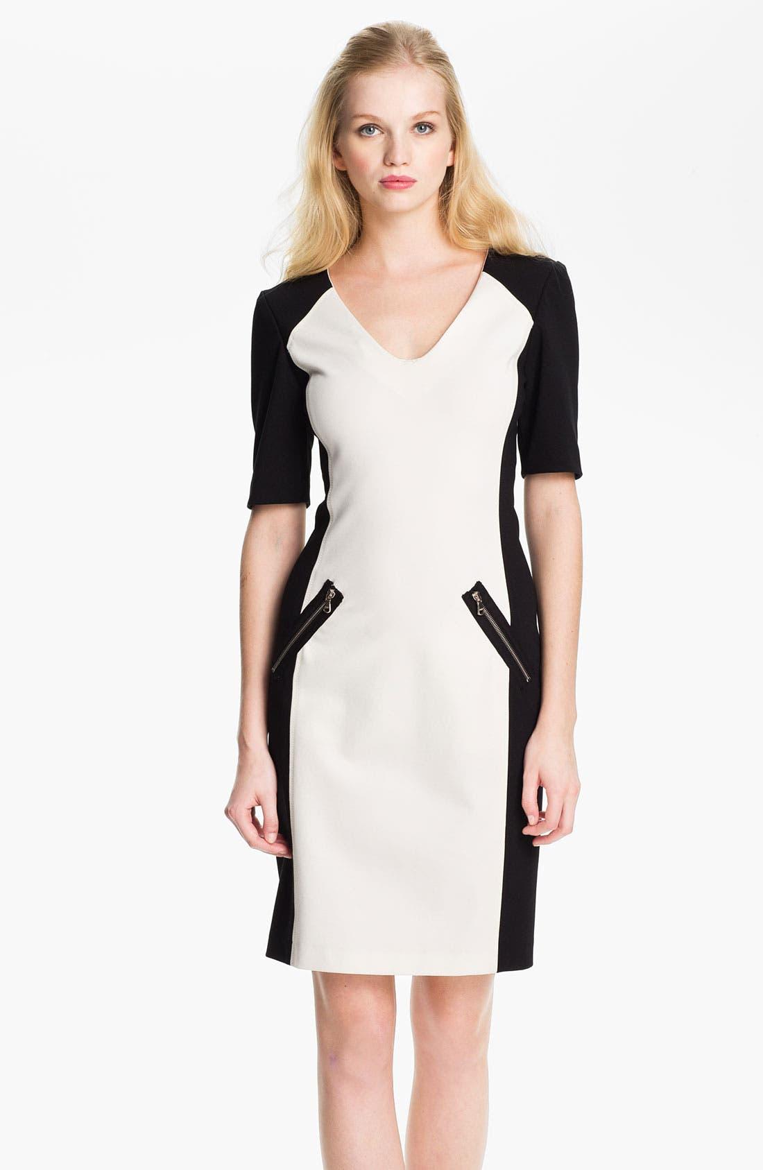 Alternate Image 1 Selected - Rebecca Taylor Ponte Sheath Dress
