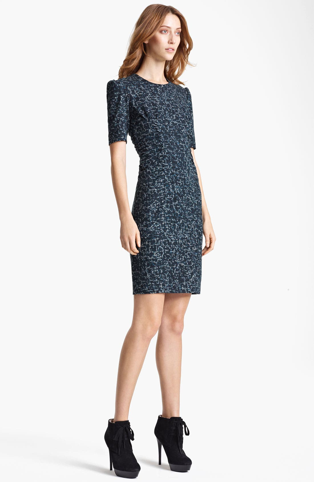 Main Image - Burberry London Ruched Tweed Print Dress