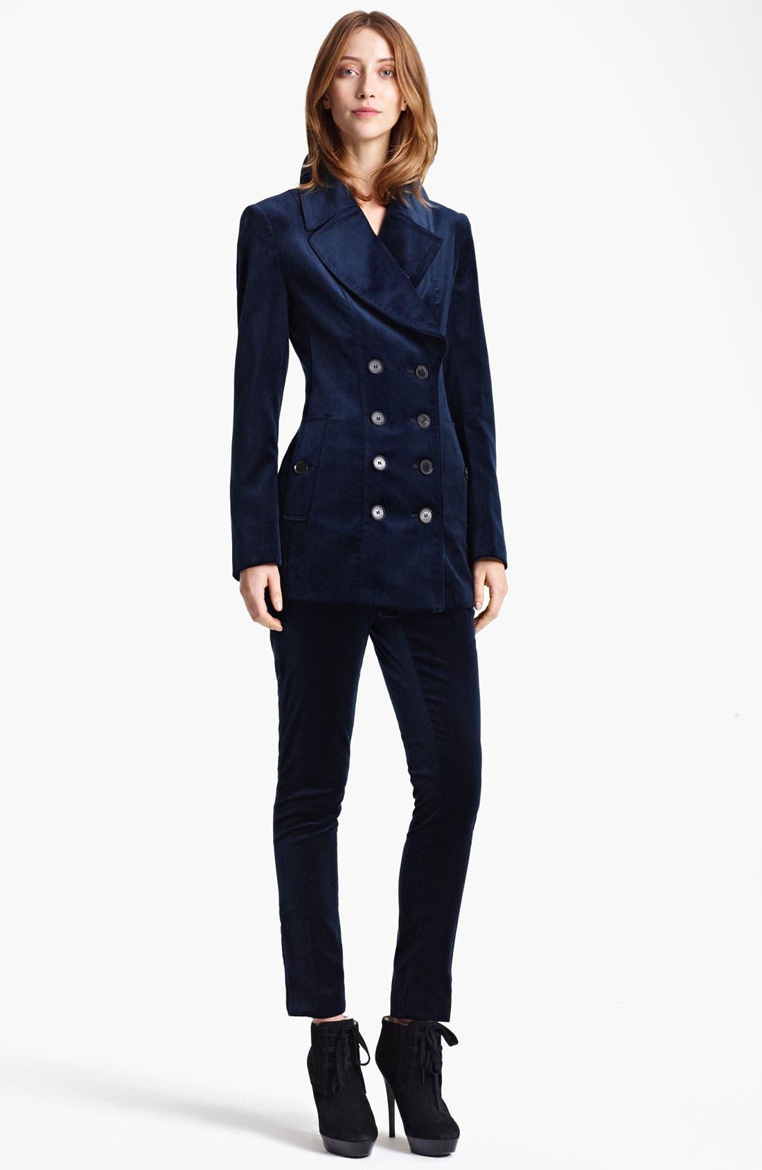 Alternate Image 1 Selected - Burberry London Double Breasted Velvet Jacket