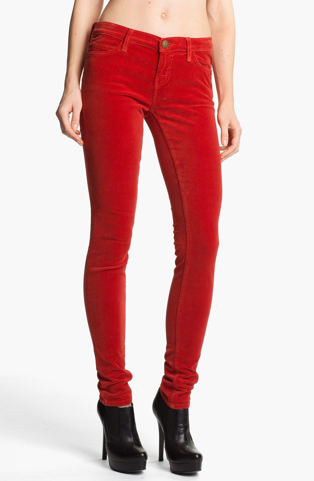 Main Image - Current/Elliott Velvet Skinny Pants (Scarlet)