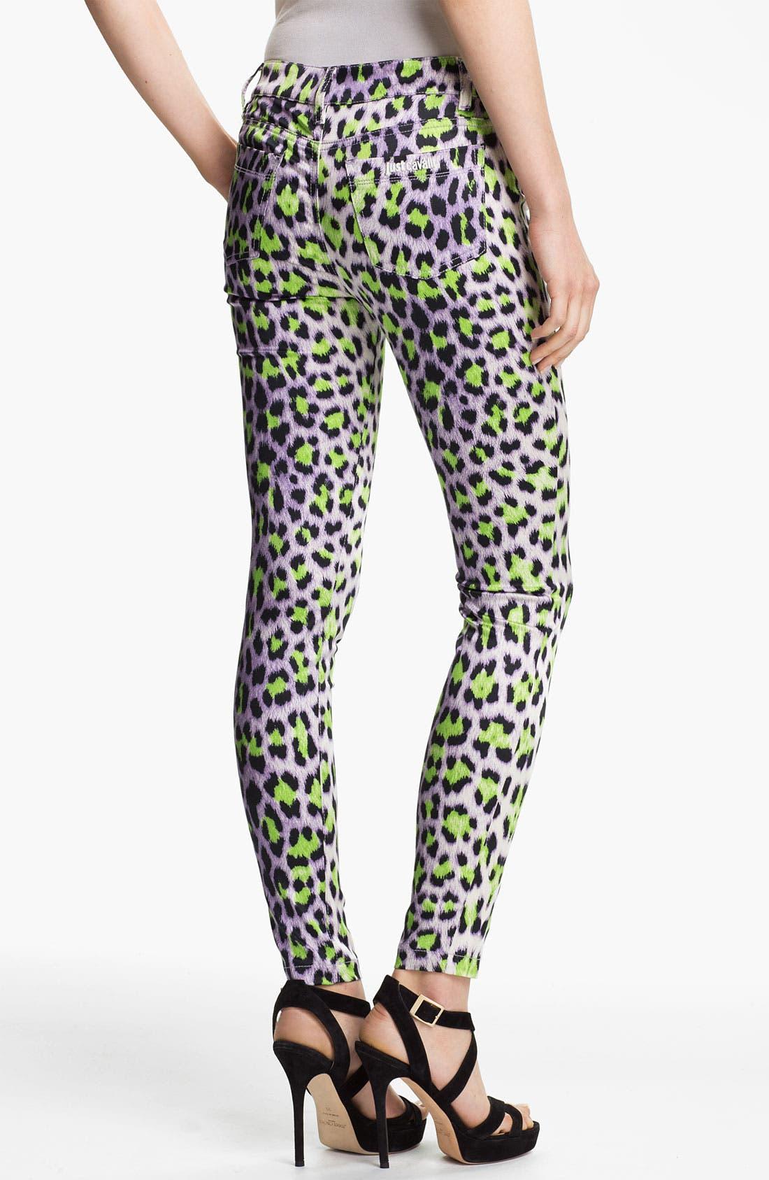 Alternate Image 2  - Just Cavalli Leopard Print Skinny Jeans