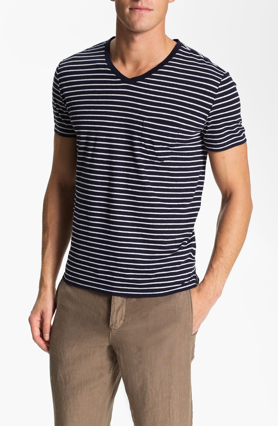Alternate Image 1 Selected - Vince Stripe Pocket V-Neck T-Shirt