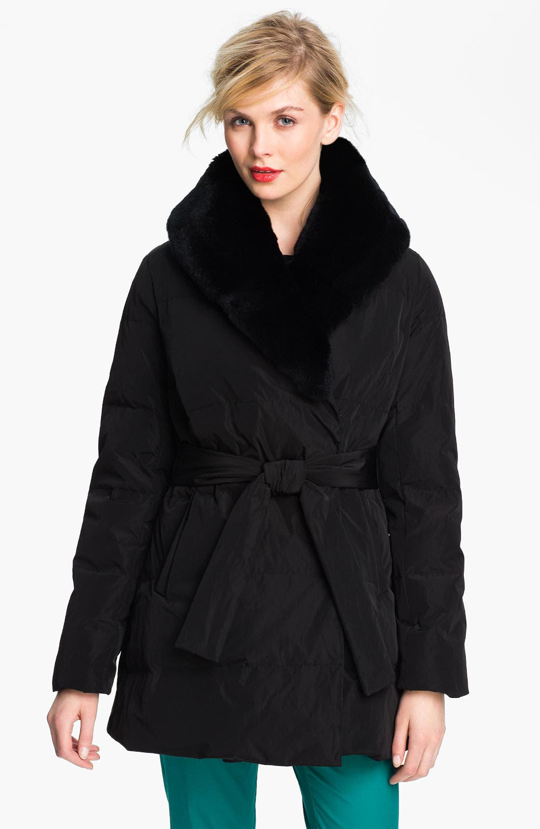 Main Image - Sachi Down Wrap Coat with Genuine Rabbit Fur