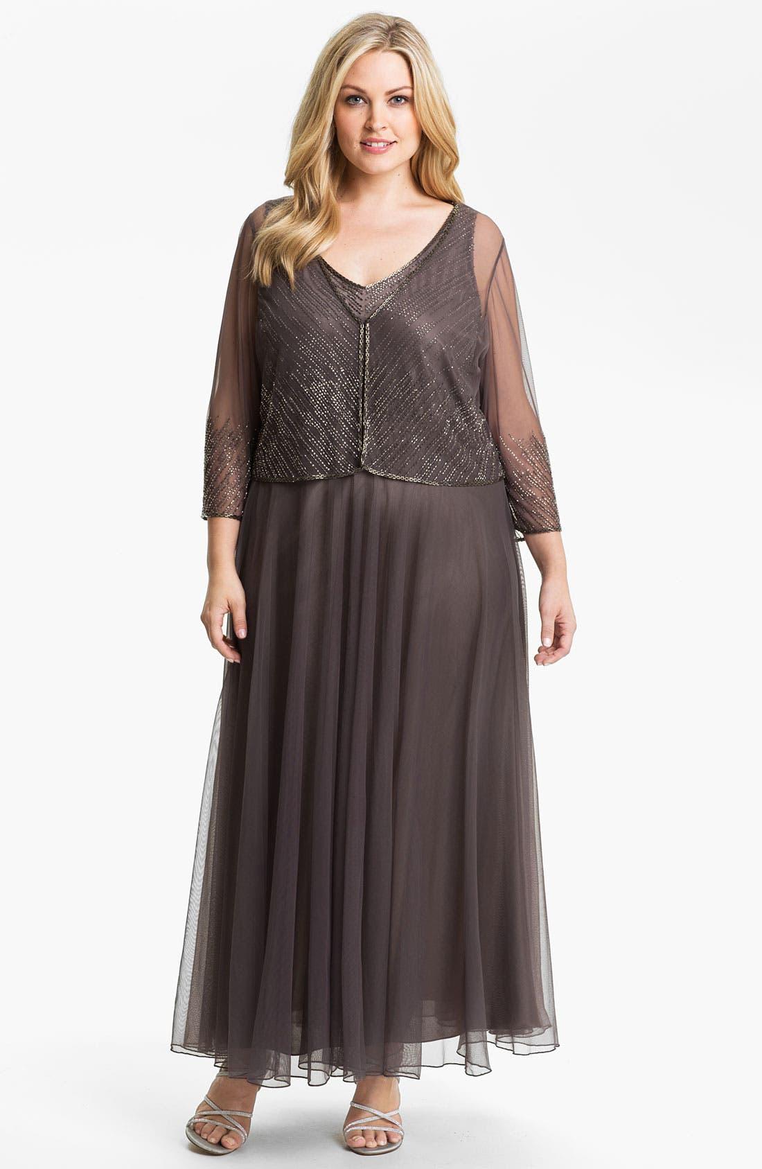 Main Image - J Kara Beaded Chiffon Dress & Jacket (Plus)