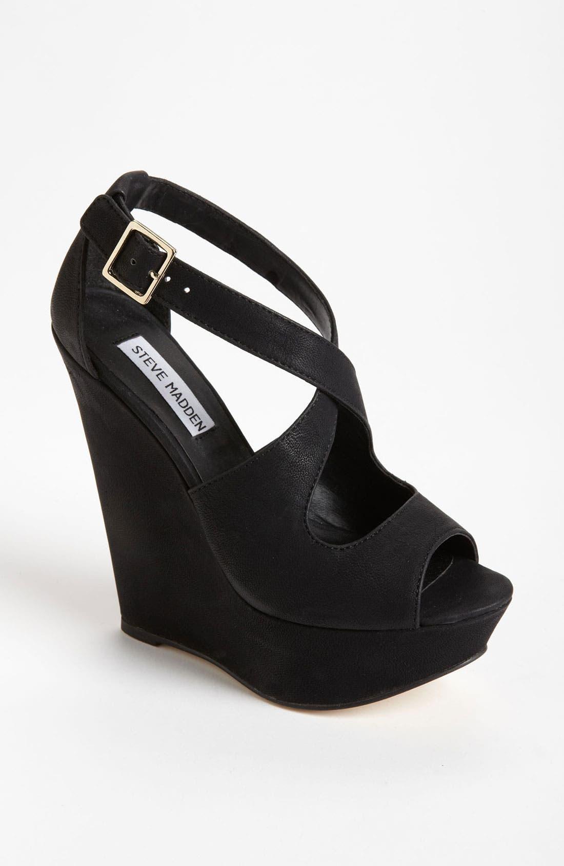 'Xternal' Wedge Sandal,                             Main thumbnail 1, color,                             Black