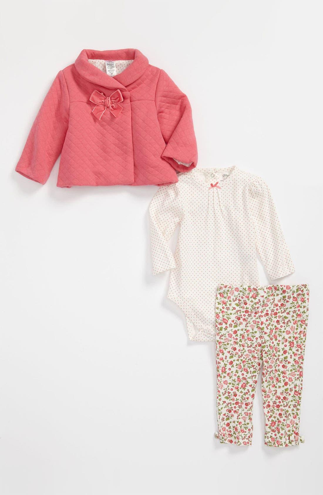 Alternate Image 1 Selected - Little Me 'Pretty Floral' Top, Leggings & Jacket (Infant)