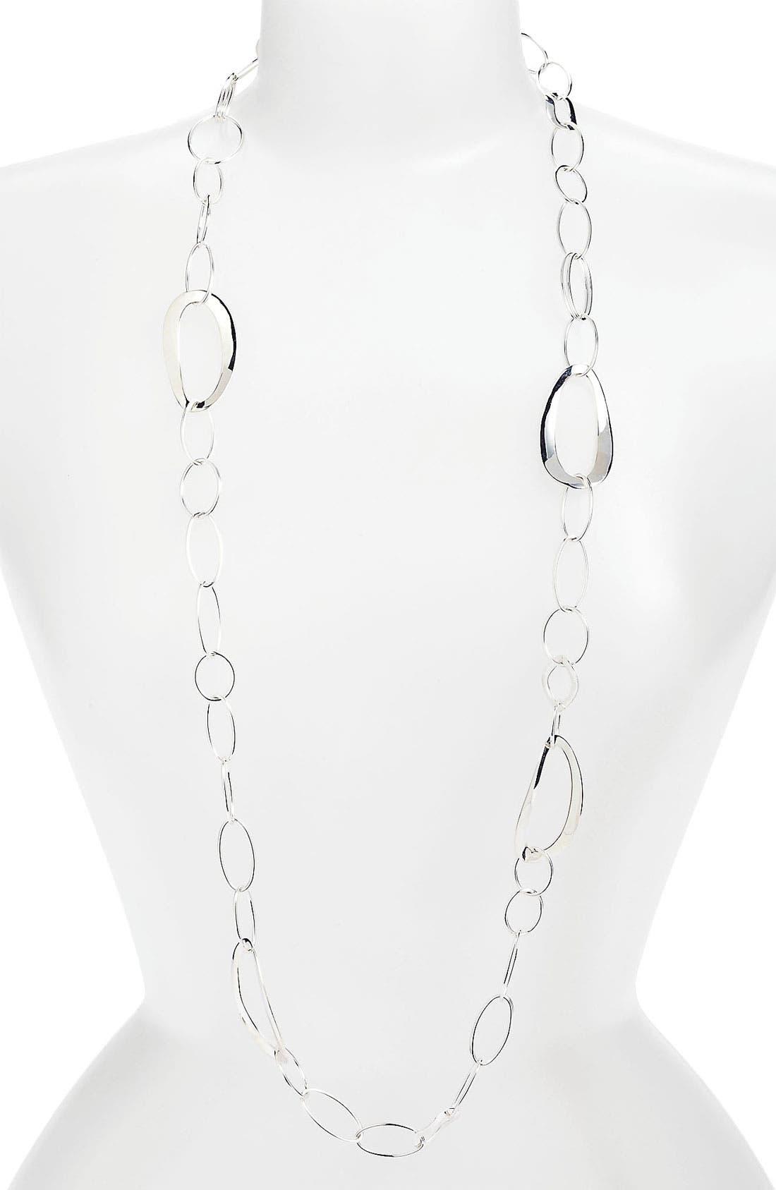 'Cherish' Wavy Oval Chain Necklace,                         Main,                         color, Silver