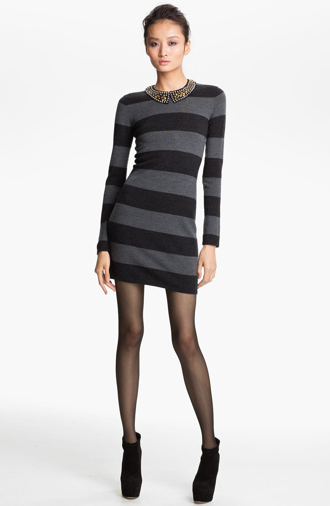 Main Image - Gryphon Studded Collar Rugby Stripe Sweater Dress
