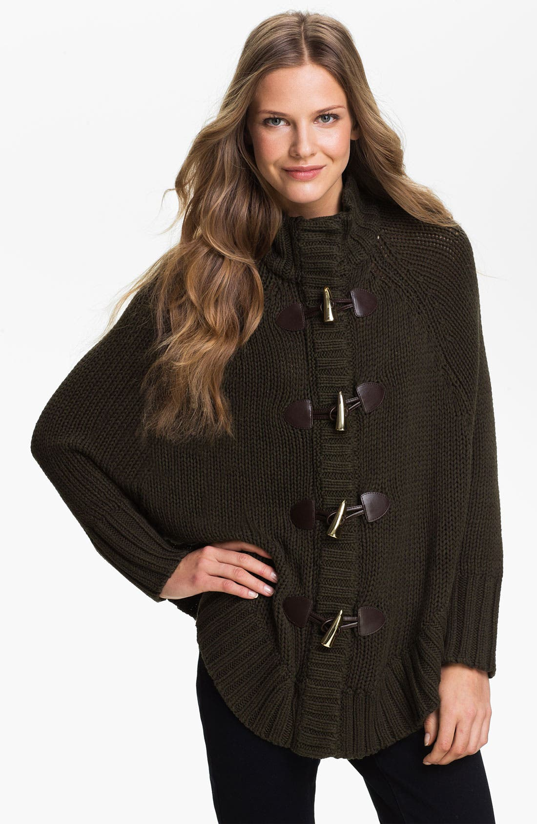 Toggle Cape Cardigan,                         Main,                         color, Rich Olive Marl