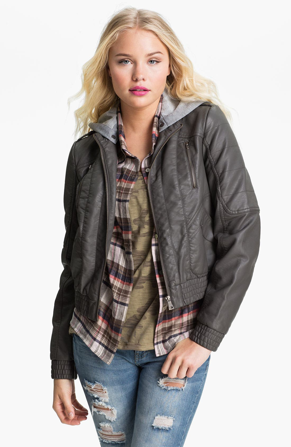 Alternate Image 1 Selected - Collection B Hooded Faux Leather Bomber Jacket (Juniors)