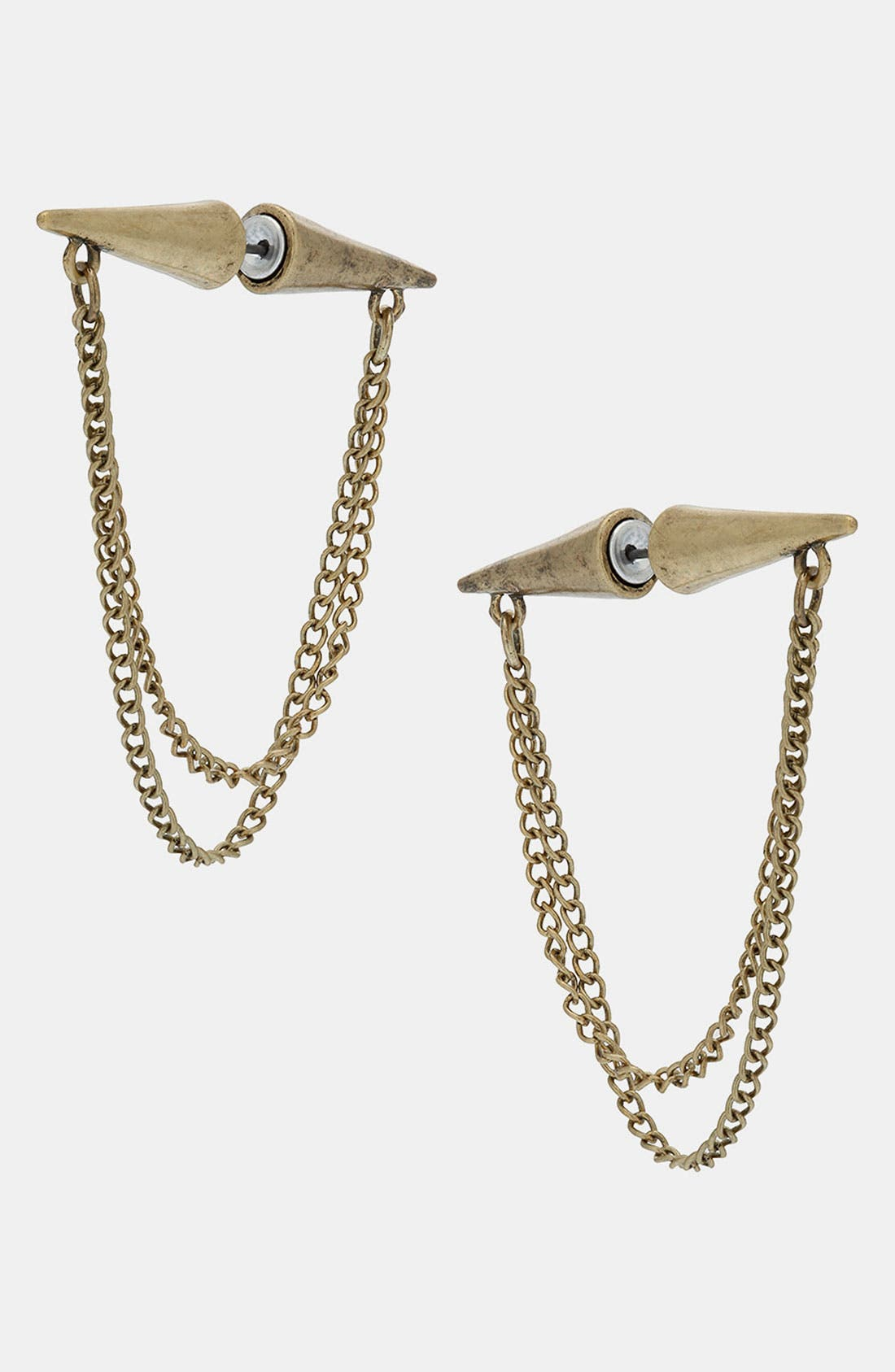 Alternate Image 1 Selected - Topshop Ear Spike Chain Tunnel Earrings