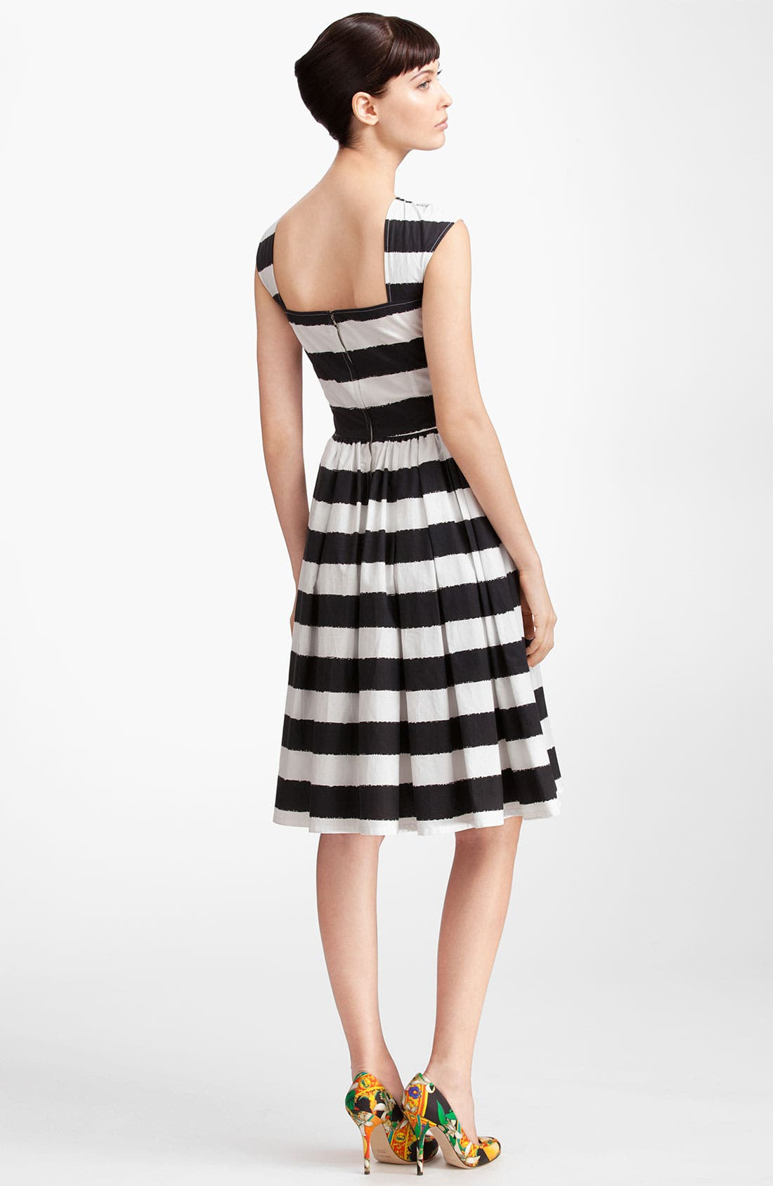 Alternate Image 2  - Dolce&Gabbana Stripe Full Skirt Poplin Dress