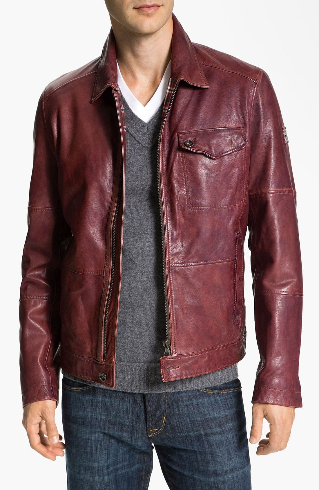 Alternate Image 1 Selected - BOSS Orange 'Javis' Leather Jacket