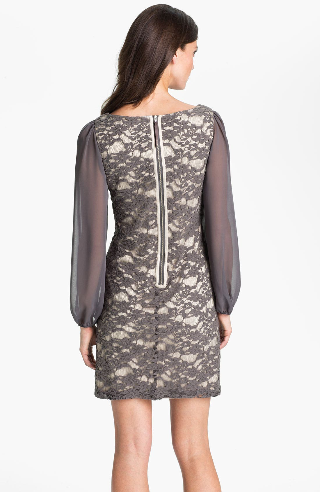 Alternate Image 2  - Eliza J Bell Sleeve Lace Overlay Sheath Dress
