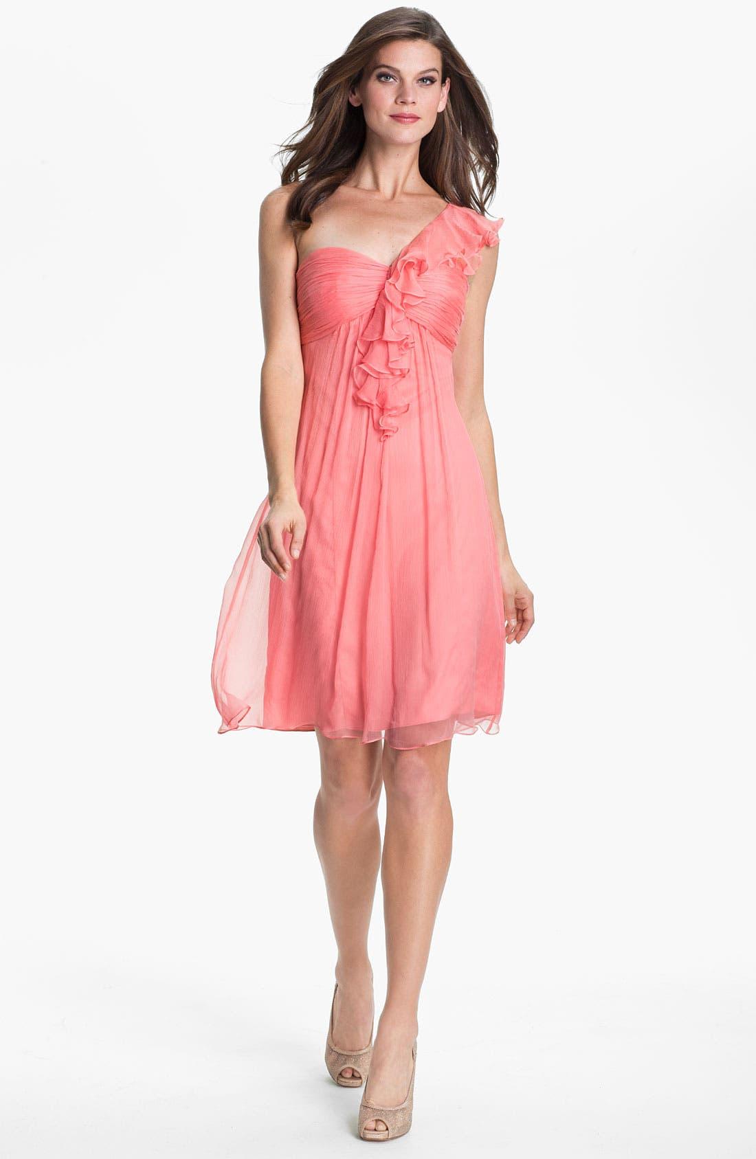 Main Image - Amsale One Shoulder Ruffle Silk Chiffon Dress