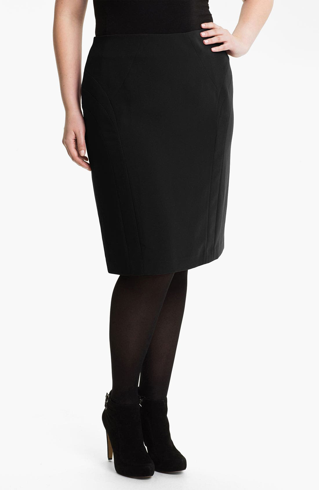 Main Image - Sejour 'Ava' Seamed Skirt (Plus)