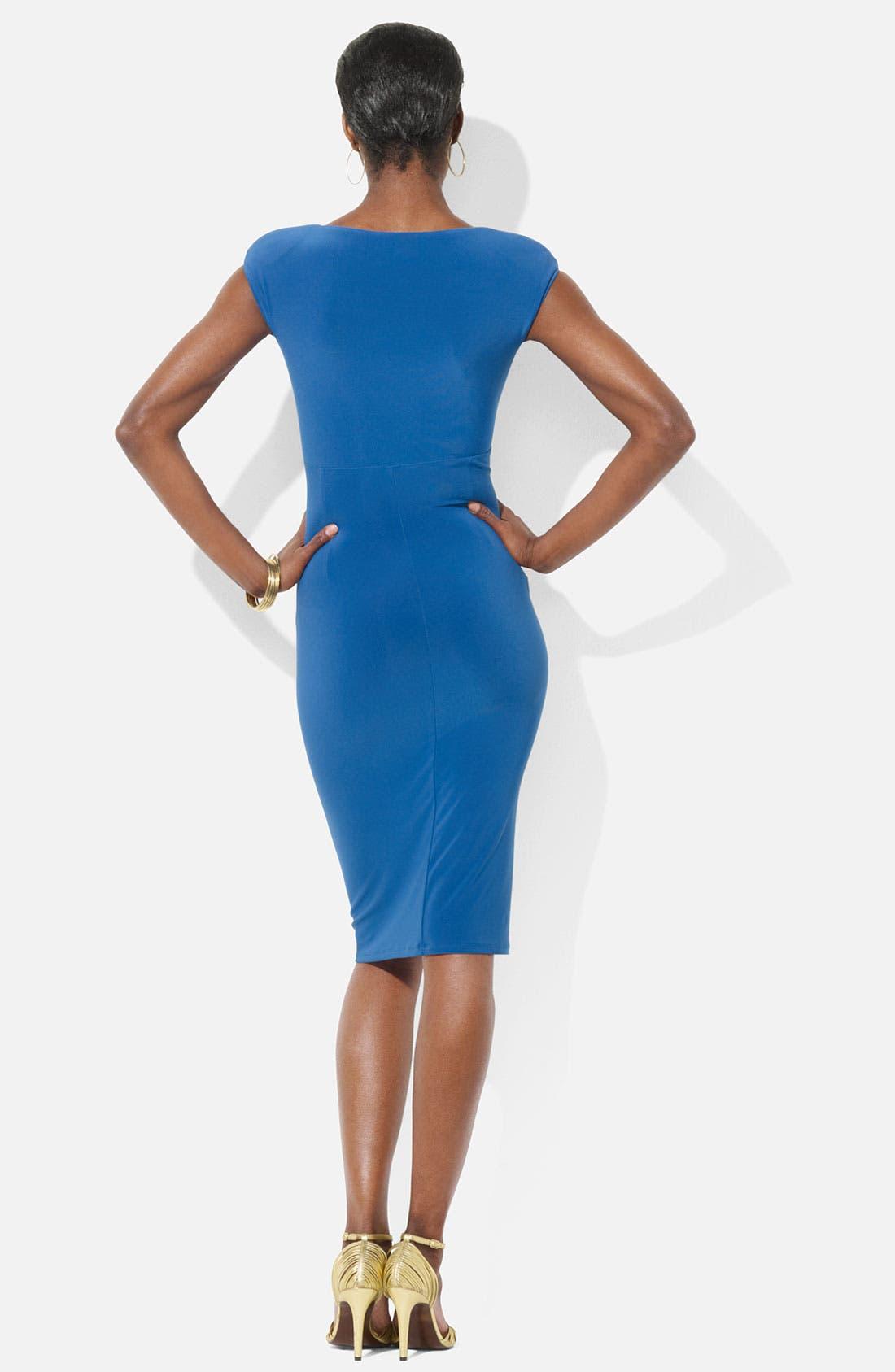 Alternate Image 2  - Lauren Ralph Lauren Cap Sleeve Surplice Jersey Dress (Petite)