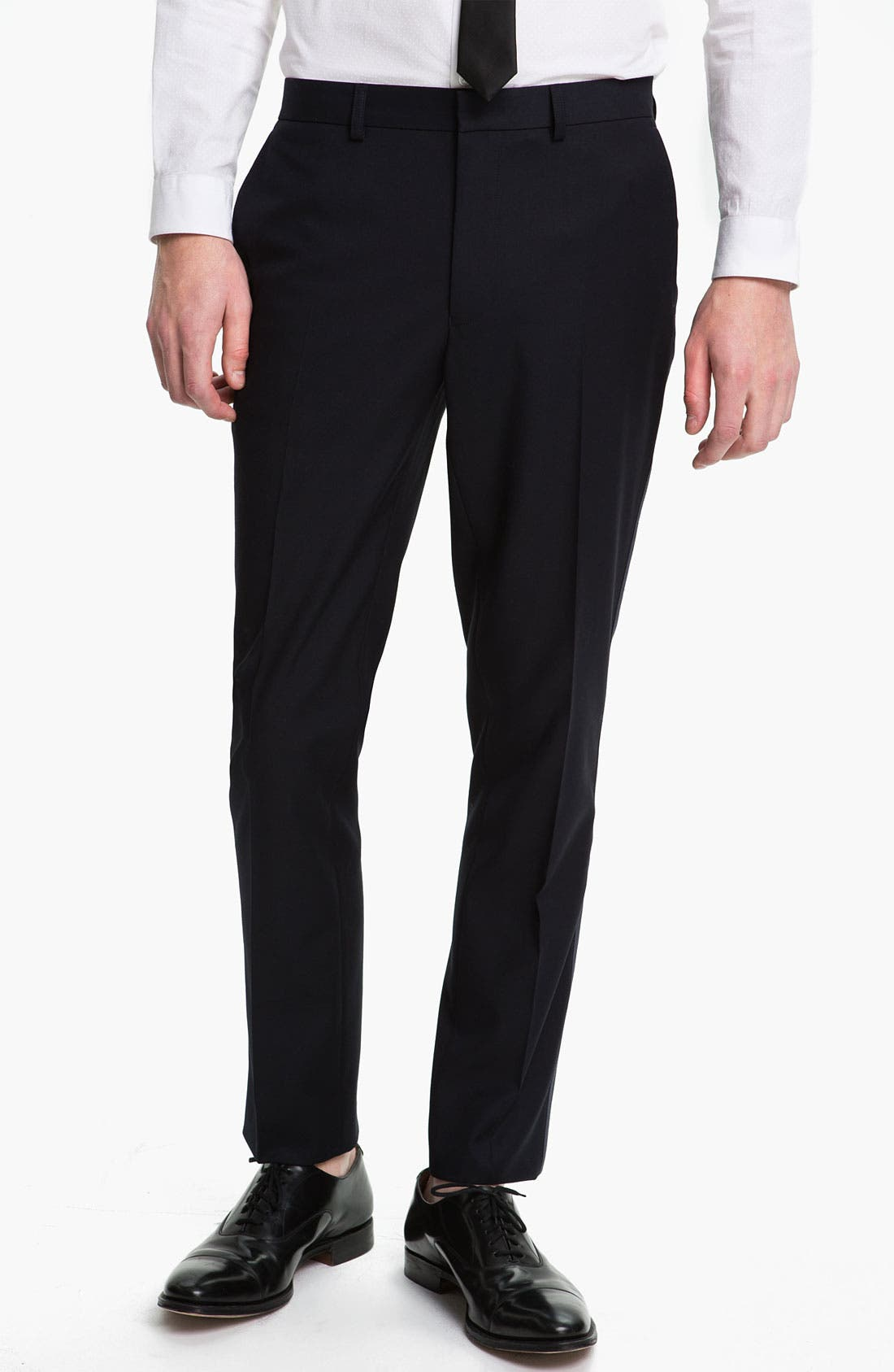 Main Image - Topman Navy Satin Trim Trousers