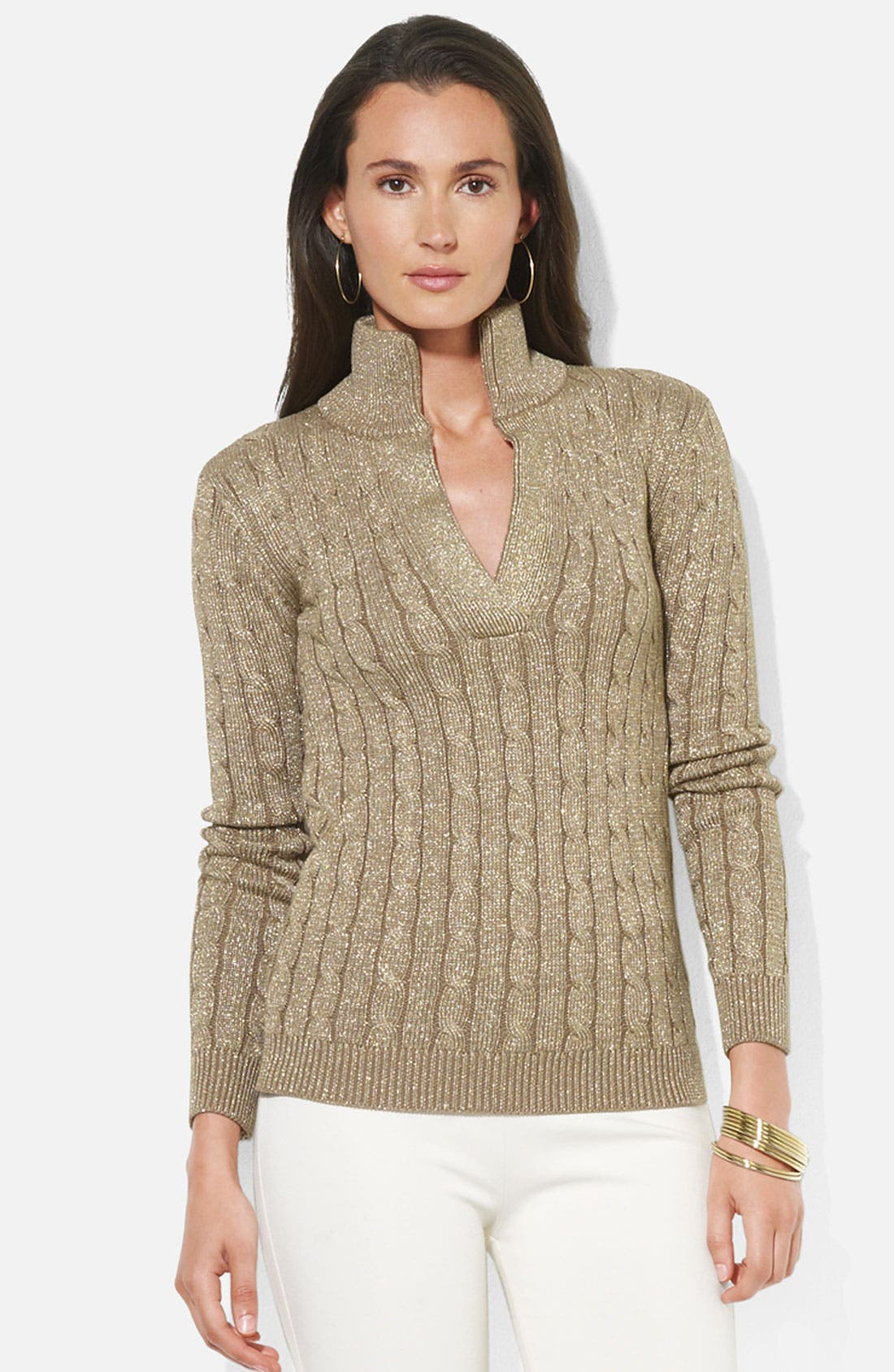 Main Image - Lauren Ralph Lauren Shimmer Cable Knit Sweater