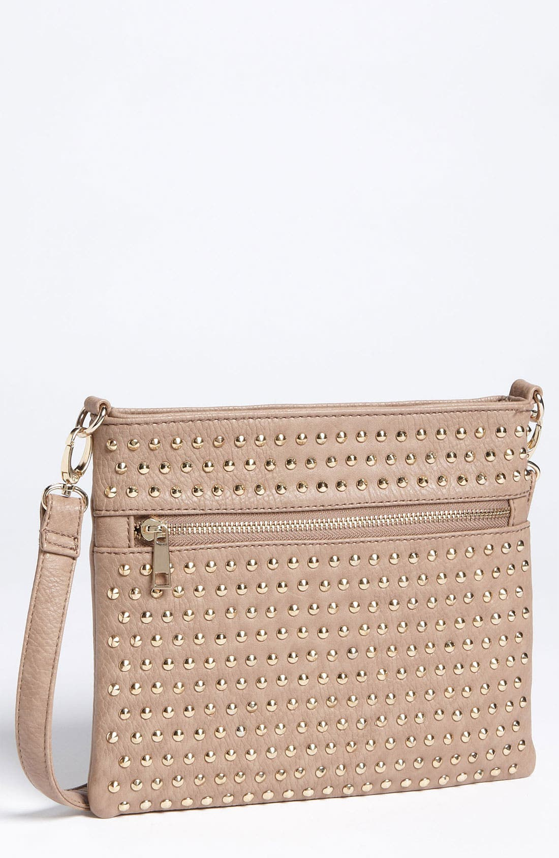 Studded Convertible Crossbody Bag,                         Main,                         color, Taupe/ Gold