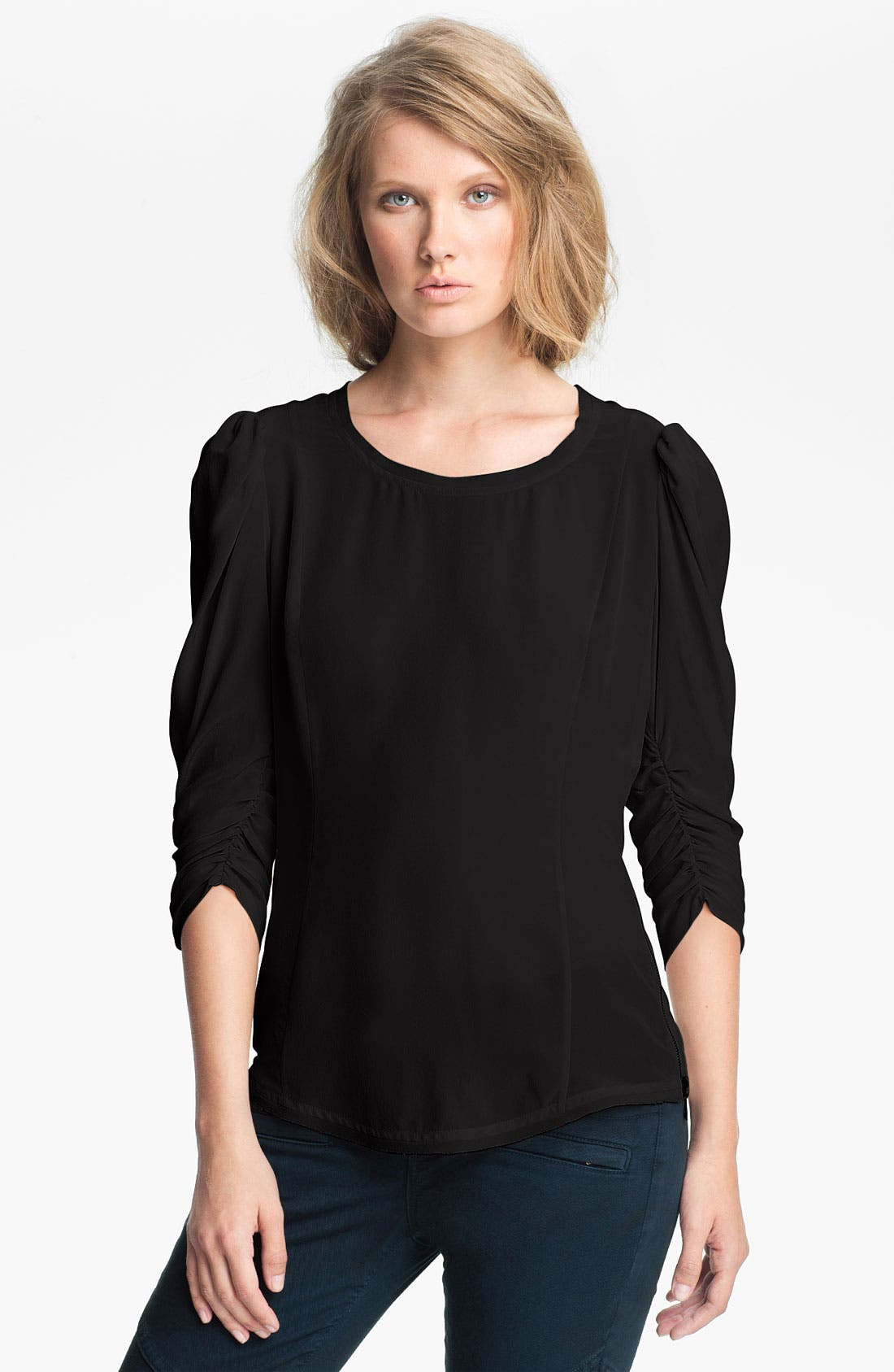 Alternate Image 1 Selected - Skaist-Taylor Zip Detail Washed Silk Top