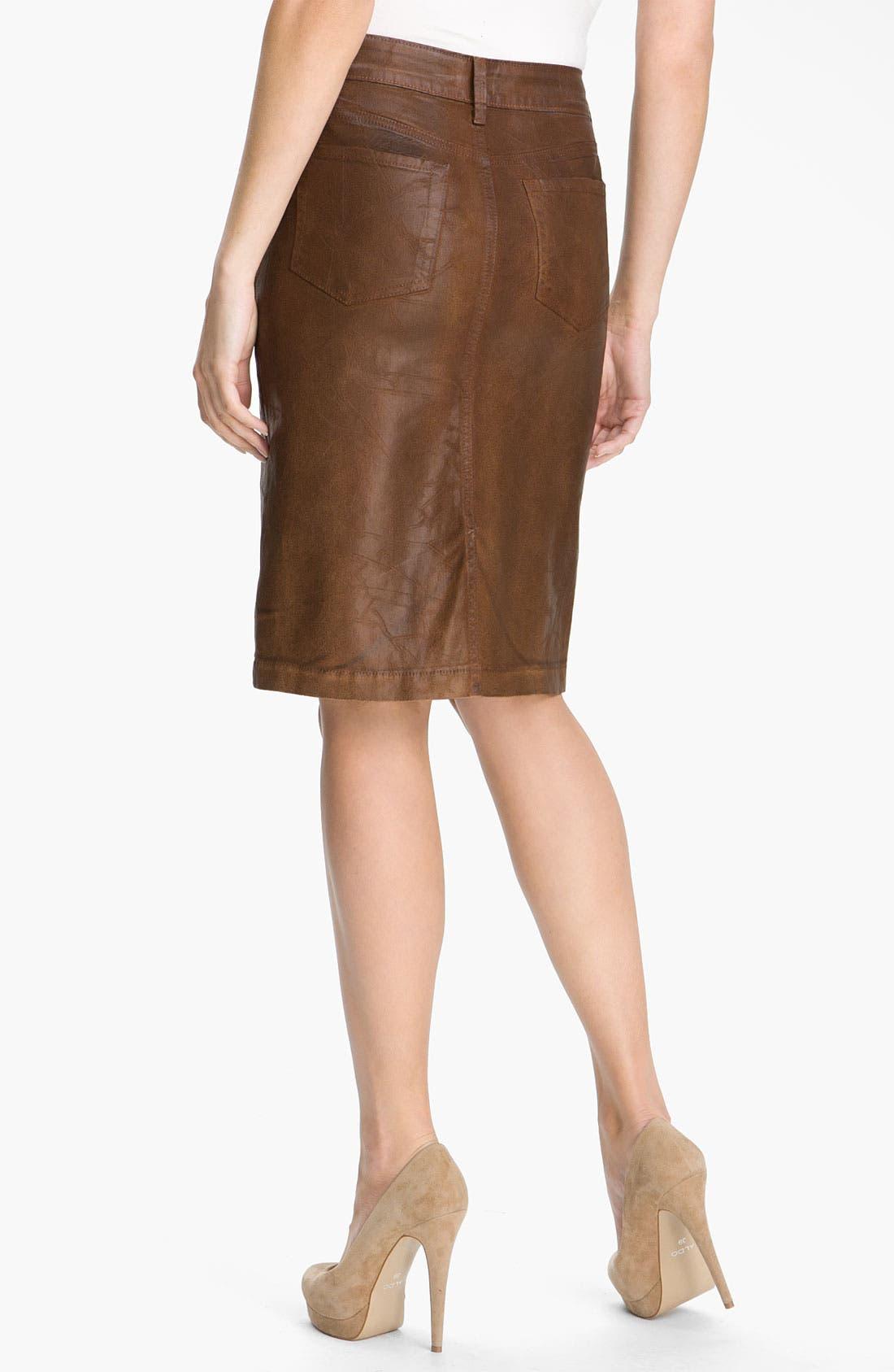 Alternate Image 2  - NYDJ 'Emma' Coated Twill Skirt (Petite)